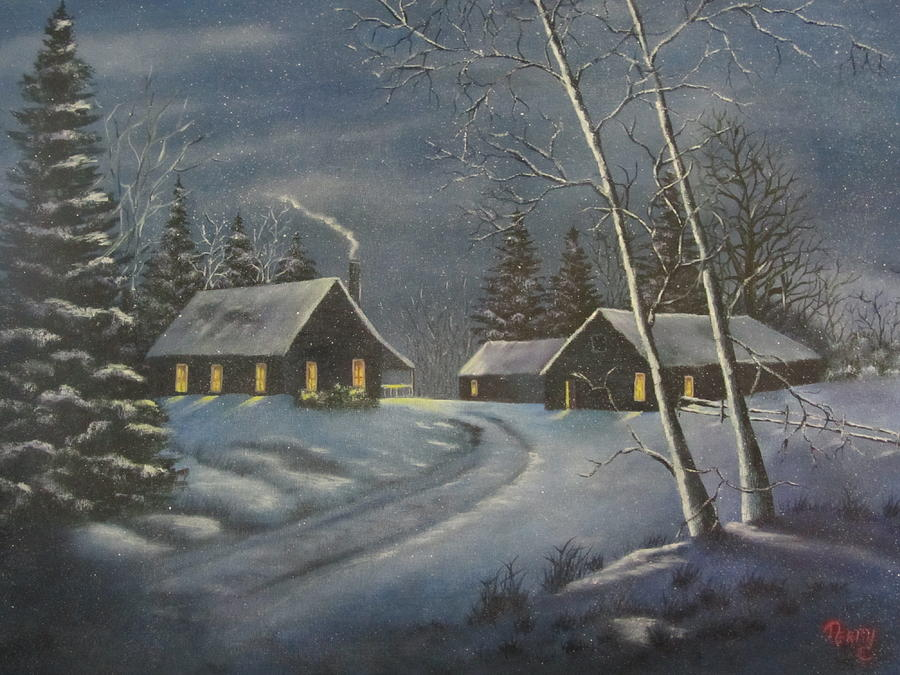 Winter Painting - Starry Night by Terry Boulerice
