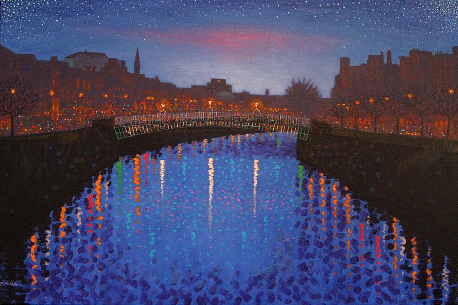 Dublin Painting - Starry Nights In Dublin Ha Penny Bridge by John  Nolan