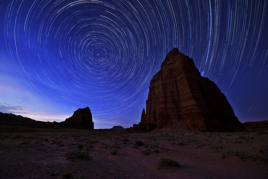 Night Photograph - Stars Above the Moon by Chad Dutson