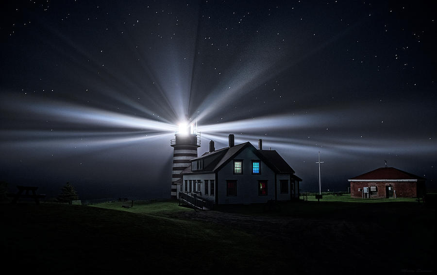 West Quoddy Head Lighthouse Photograph - Stars And Light Beams - West Quoddy Head Lighthouse by Marty Saccone