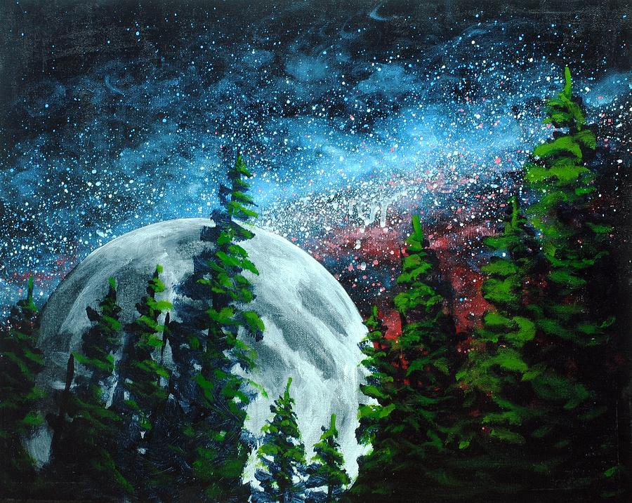 Acrylic Painting - Stars And Moon by Nolan Clark