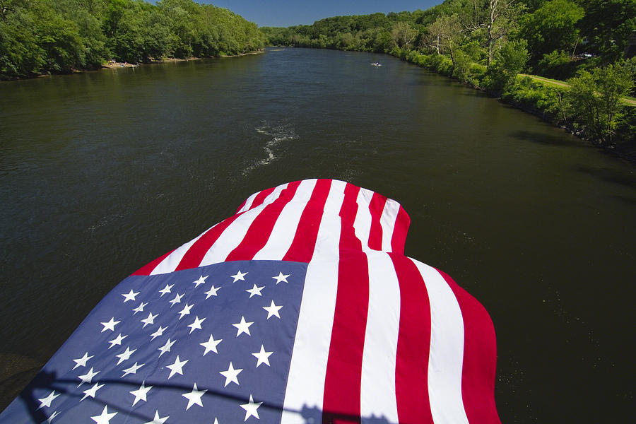 Border Photograph - Stars And Stripes Flies Over The Delaware River by George Oze
