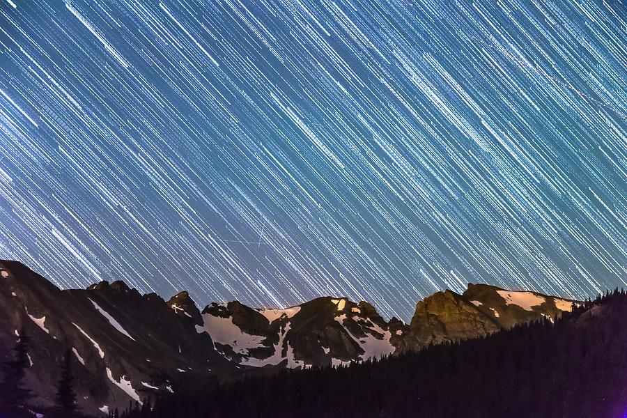 Stars Raining Down On The Colorado Indian Peaks Photograph