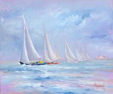 Sailboat Regatta Painting - Starting Line - Sailboat Regatta by Bob Pittman