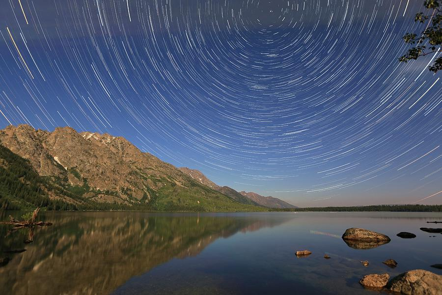 Landscape Photograph - Startrails over Jenny Lake by M C Hood
