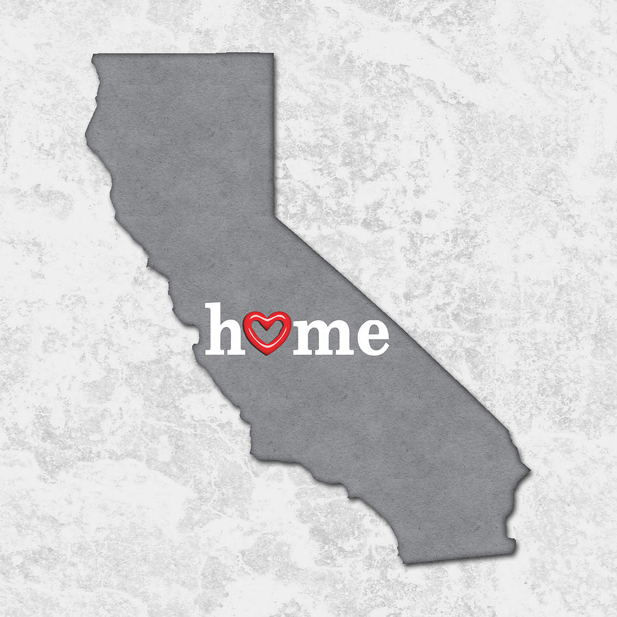 State Map Outline California With Heart In Home Painting By Elaine