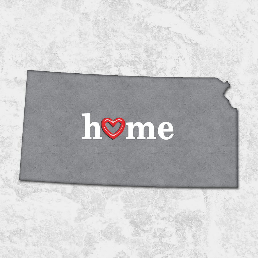 State Map Outline Kansas With Heart In Home Painting By Elaine