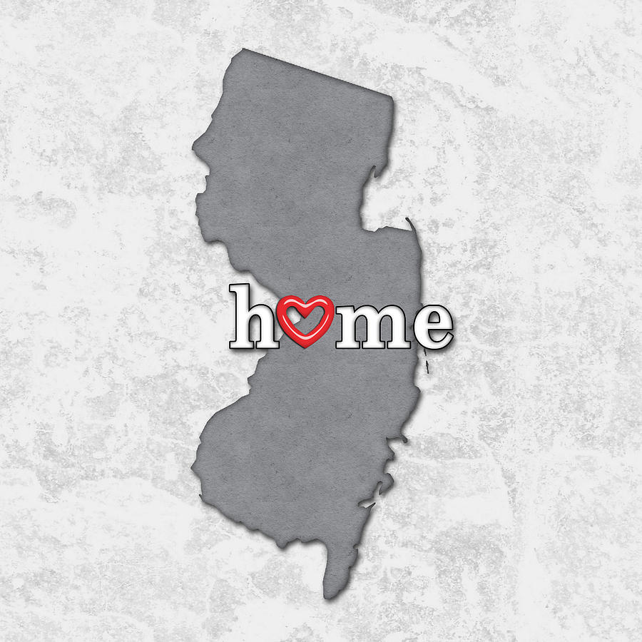 New Jersey Home Painting From J S Painting: State Map Outline New Jersey With Heart In Home Painting