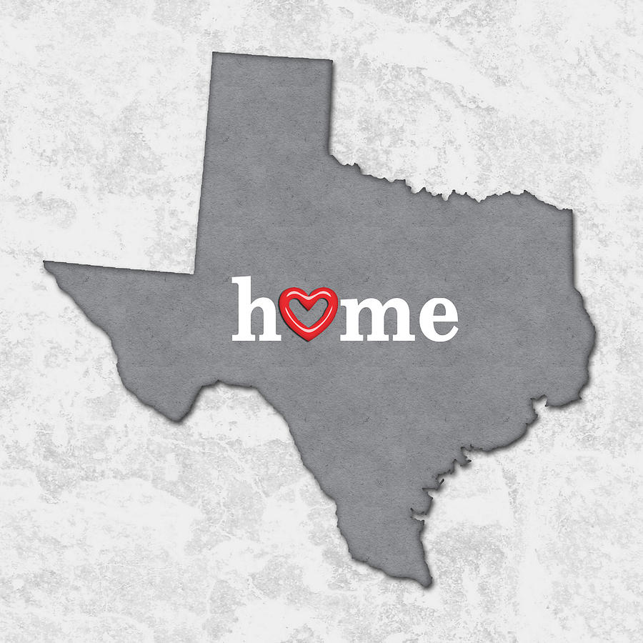 State Map Outline Texas With Heart In Home Painting By Elaine Plesser - Texas map outline