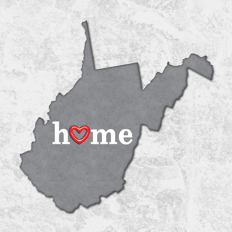 State Map Outline West Virginia With Heart In Home Painting by