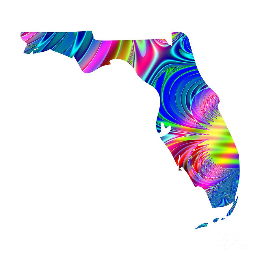 Florida Map Of State.State Of Florida Map Rainbow Splash Fractal By Rose Santuci Sofranko