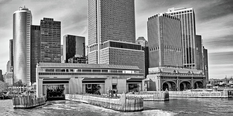 Staten Island Ferry Photograph - Staten Island Ferry Docks In B And W by Frank Morales Jr