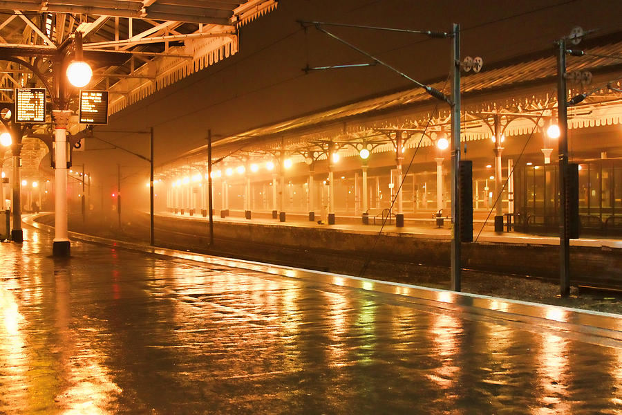 Train Station Photograph - Station At Night by Tony Grider