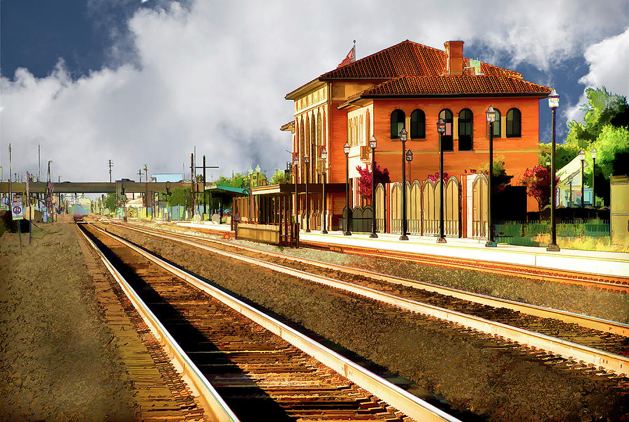 Railroad Station Digital Art - Station In Waiting by Terry Davis