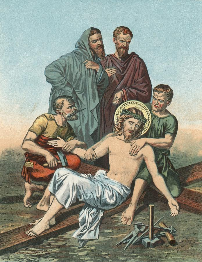 English School Painting - Station Xi Jesus Is Nailed To The Cross by English School