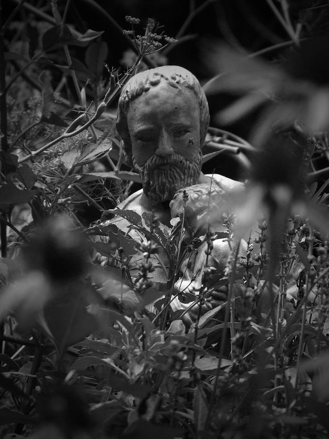Religious Photograph - Statue In Flowers by Megan Verzoni