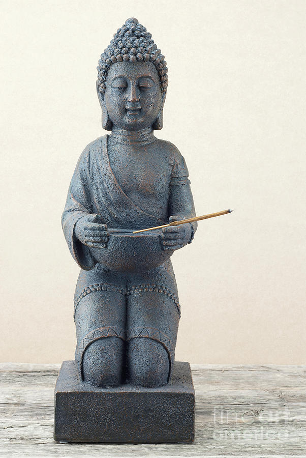 Statue Of Buddha With Incense Stick Photograph