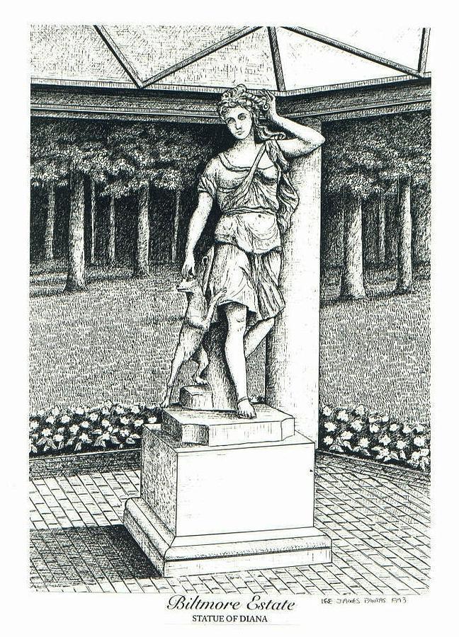 Biltmore Estate Drawing - Statue of Diana on Biltmore Estate by Lee Pantas