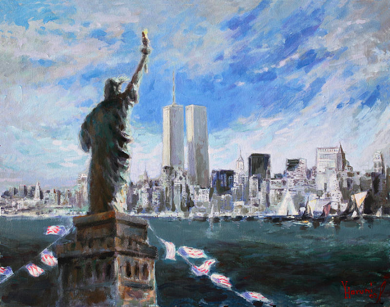 Landscape Painting - Statue Of Liberty And Tween Towers by Ylli Haruni