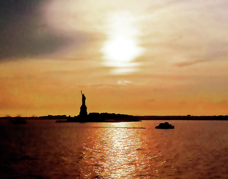 Statue Of Liberty Photograph - Statue Of Liberty At Sunset by Roger Bester