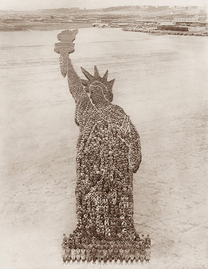 Statue Of Liberty Photograph - Statue of Liberty Human Formation - By Arthur Mole 1918 by War Is Hell Store