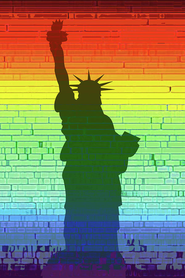 Statue Of Liberty Digital Art - Statue Of Liberty Rainbow by Frodomixa Studio
