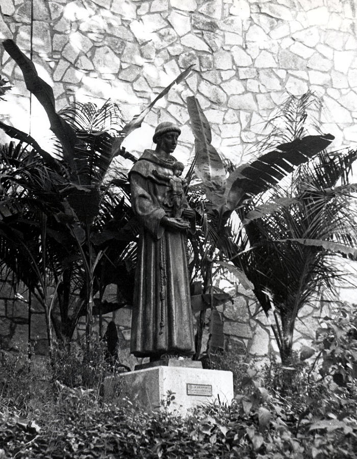 B&w Photograph - Statue Of Saint Anthony by Tommy Reynolds