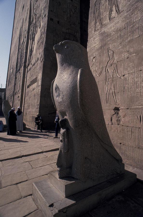 Pyramid Photograph - Statue Of The Bird God, Horus by Richard Nowitz