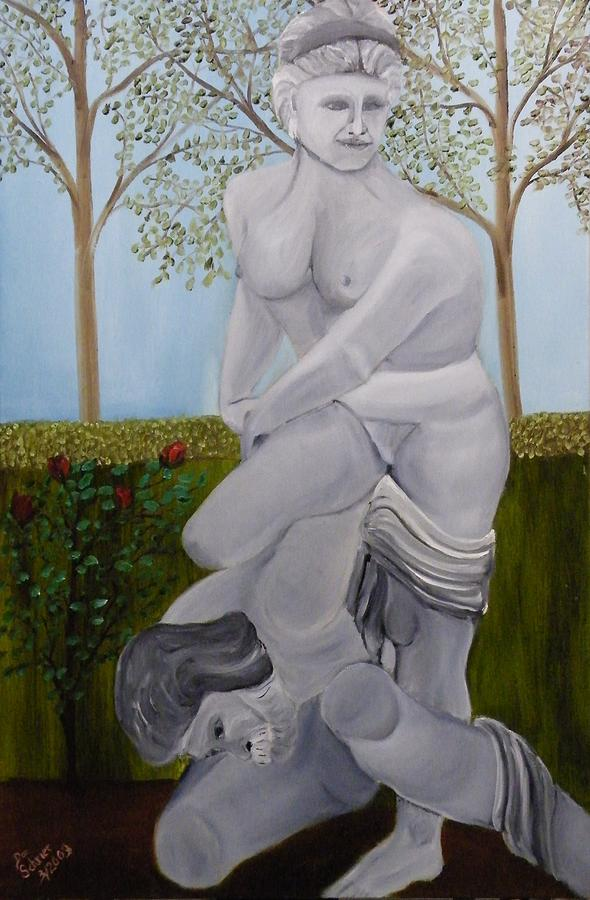 Landscape Painting - Statue Of The Eternal Struggle by Donald Schrier