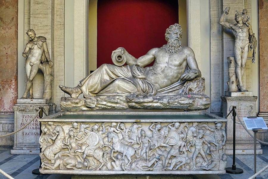 Statue Photograph - Statue Of The Greek River God Tiberinus At The Vatican Museum by Richard Rosenshein