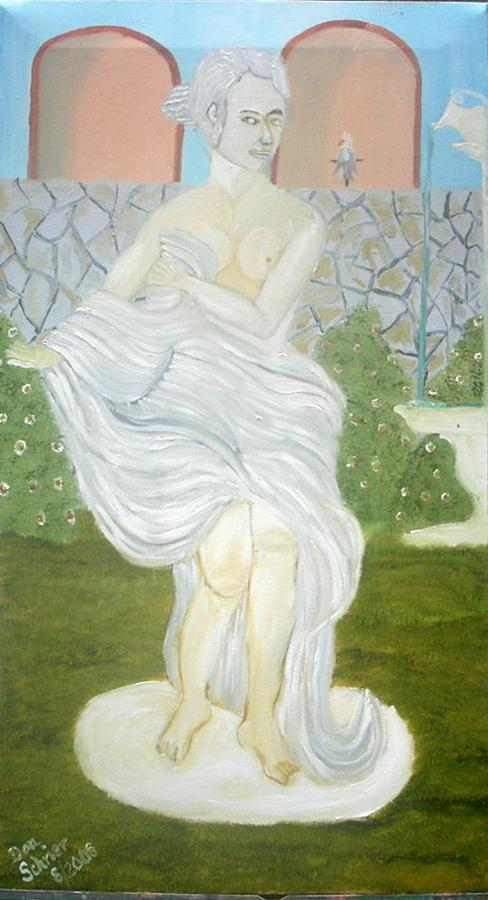 Landscape Painting - Statue Of Venus In Garden Of Pouring Water by Donald Schrier