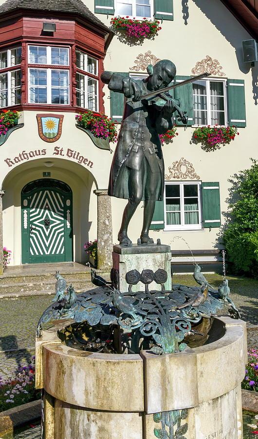 Mozart Photograph - Statue Of Young Wolfgang Amadeus Mozart In St. Gilgen, Austria by Elenarts - Elena Duvernay photo