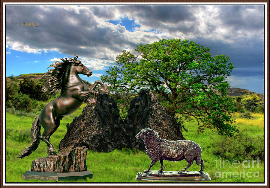 Post-impressionism Digital Art - Statues In The Park by Pemaro