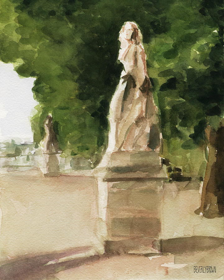 Paris Painting - Statues Jardin du Luxembourg by Beverly Brown Prints