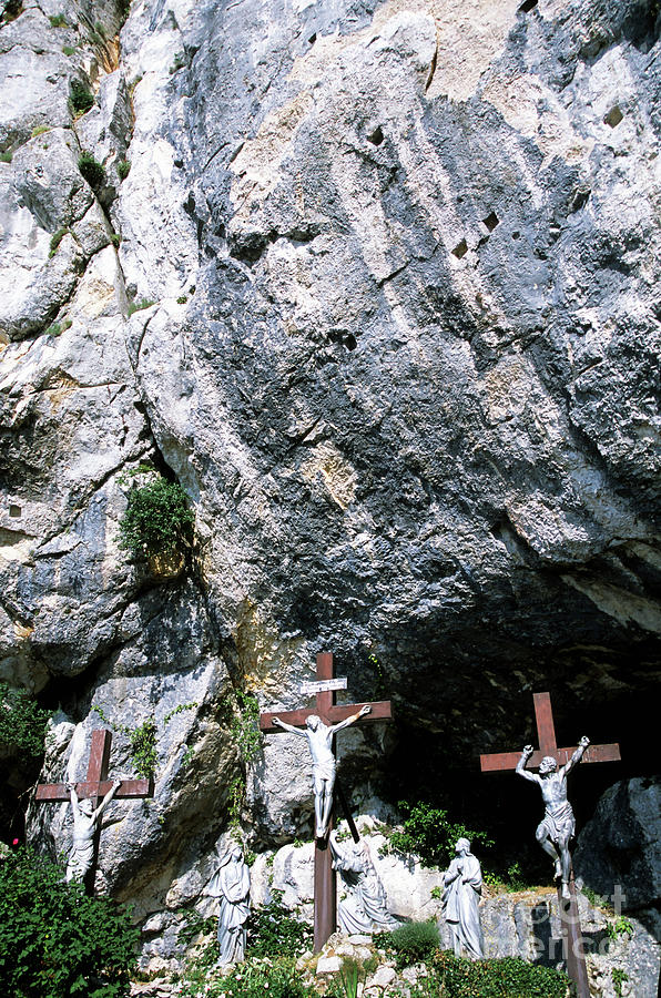 Biblical Photograph - Statues Of Jesus Christ On The Cross At The Christian Pilgrimage Site Of La Sainte-baume by Sami Sarkis