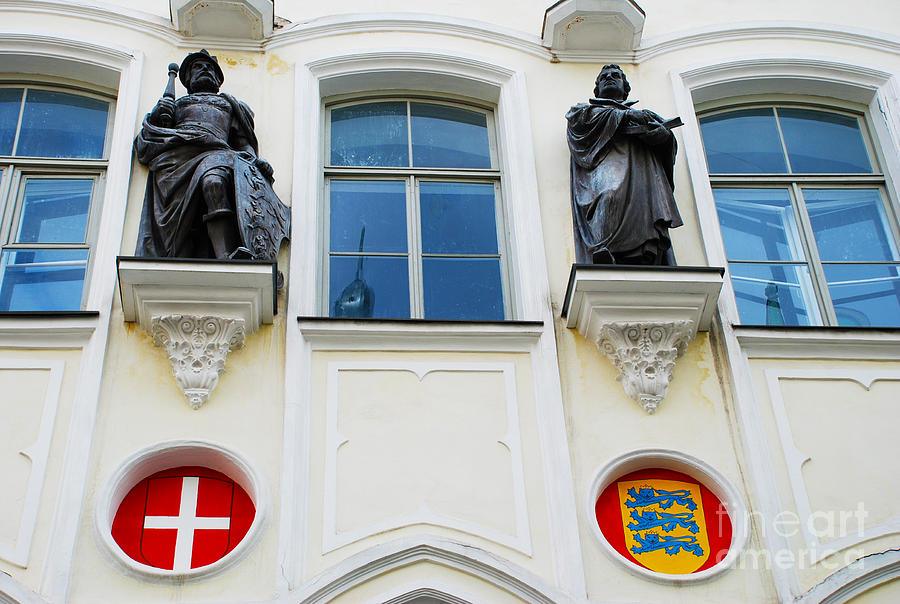 Statues On St Canutes Guildhall - Tallinn Estonia Photograph