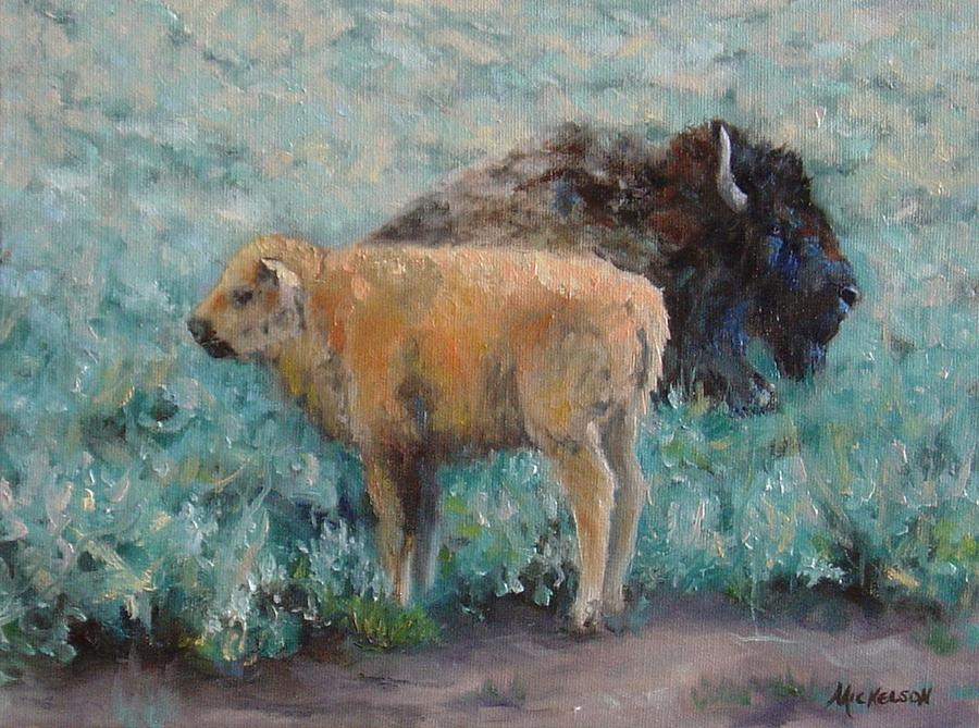 Bison Painting - Staying Close by Debra Mickelson