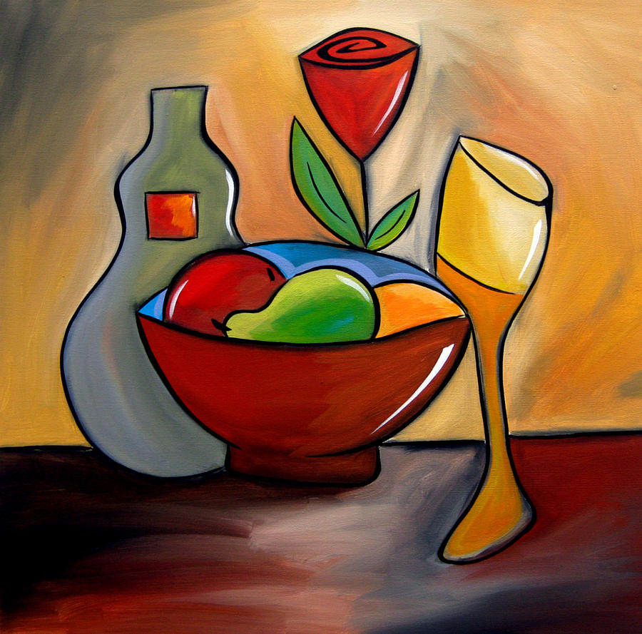 Abstract Art Paintings Painting - Staying In - Abstract Wine Art By Fidostudio by Tom Fedro - Fidostudio