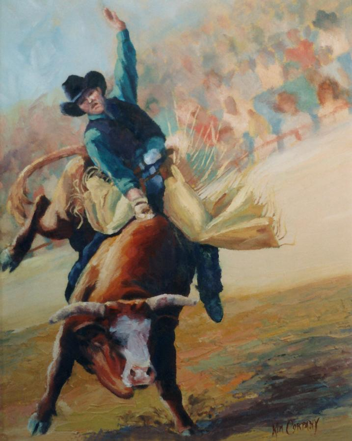 Staying In The Middle Rodeo Bucking Bull Painting By Kim