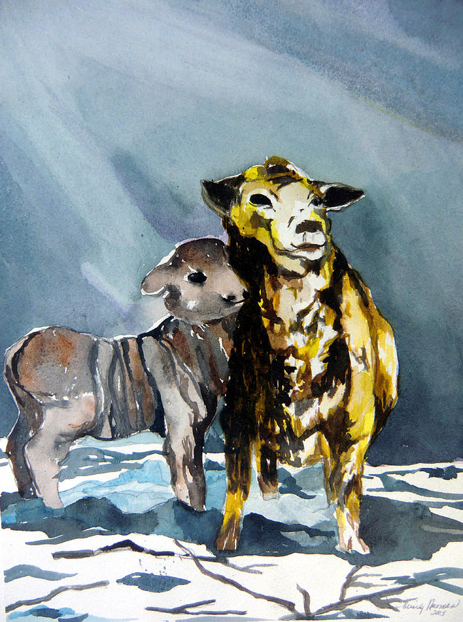 Lamb Painting - Staying Warm by Mindy Newman