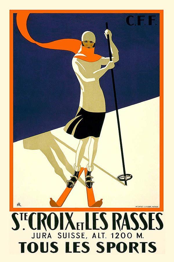 Ste Croix Et Les Rasses - Tous Les Sports - Retro Travel Poster - Vintage Poster Mixed Media