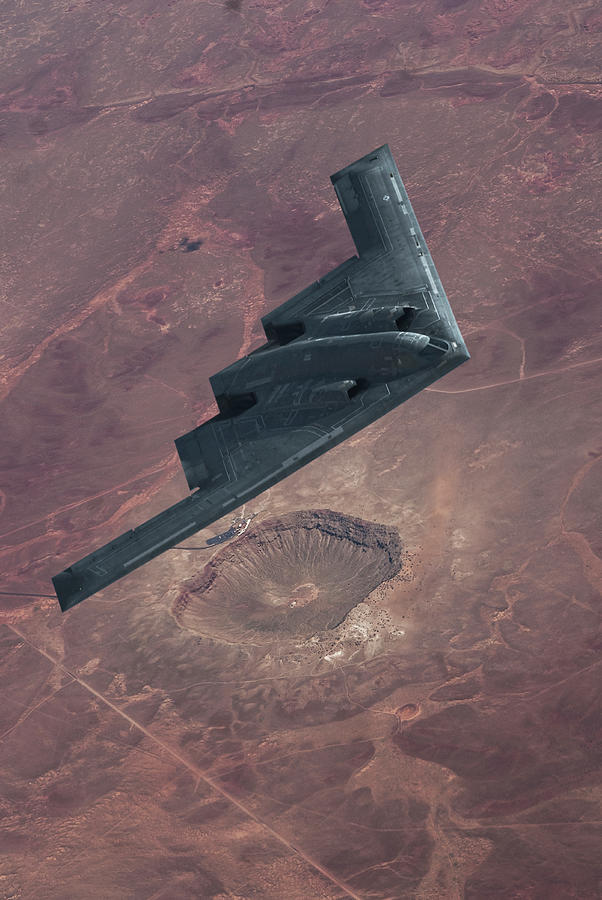 B-2 Stealth Bomber Photograph - Stealth Over The Arizona Meteor Crater by Erik Simonsen