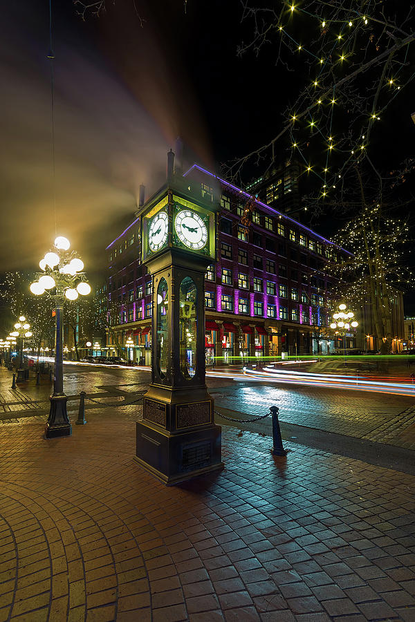 Steam Photograph - Steam Clock In Gastown Vancouver Bc At Night by David Gn