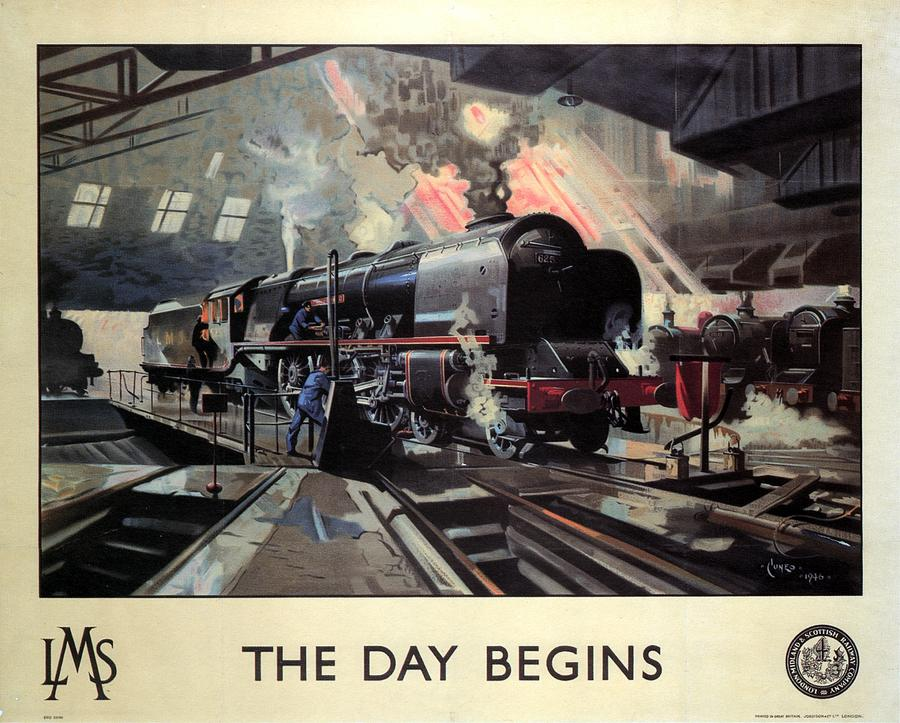 Steam Locomotive Painting - Steam Engine Locomotive at the Terminal - The Day Begins - Vintage Advertising Poster by Studio Grafiikka