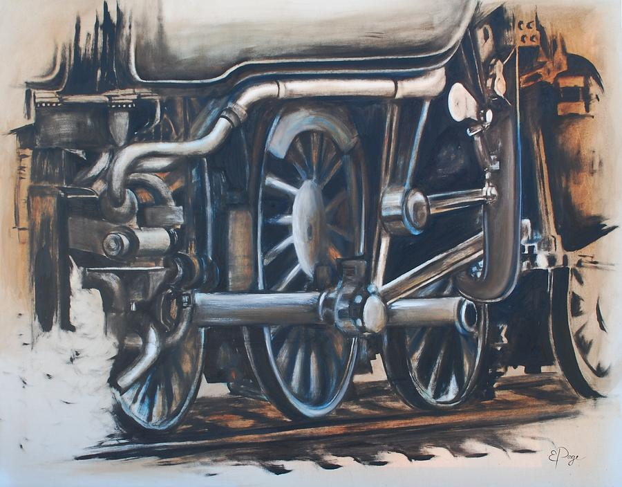 Train Painting - Steam Engine Wheels by Emily Page