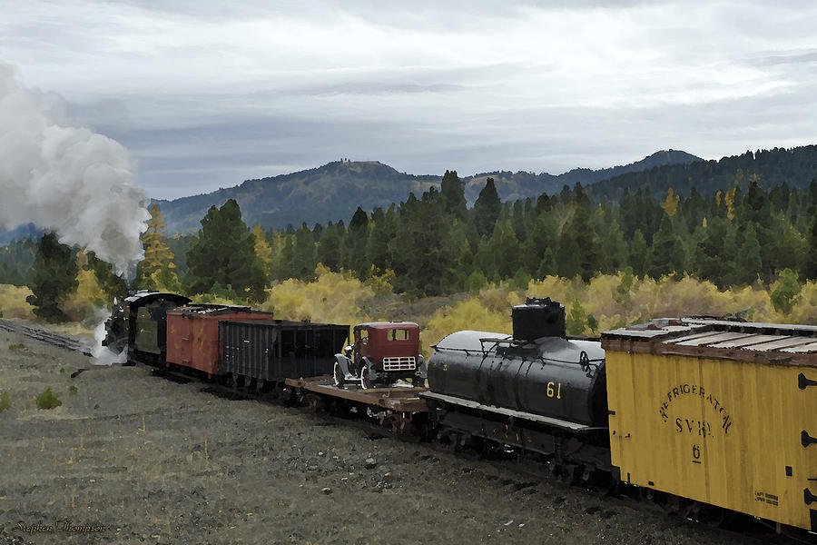 Oregon Photograph - Steam Freight Train Watercolor by Stephen  Thompson