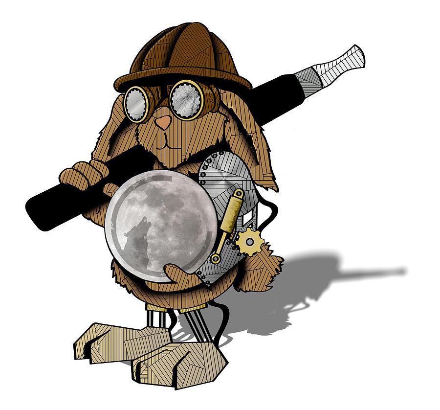 Steam Digital Art - Steam Rabbit by Lee Wolf Winter