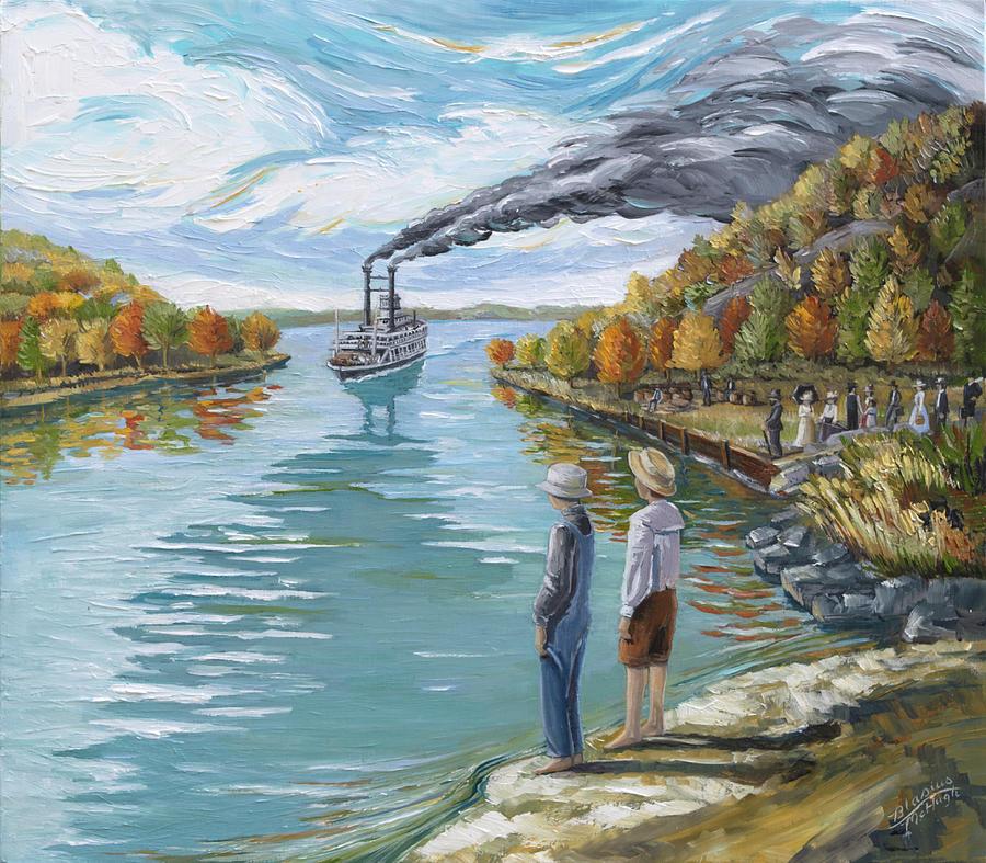 Steamboat Painting - Steamboat Around The Bend by Paula Blasius McHugh