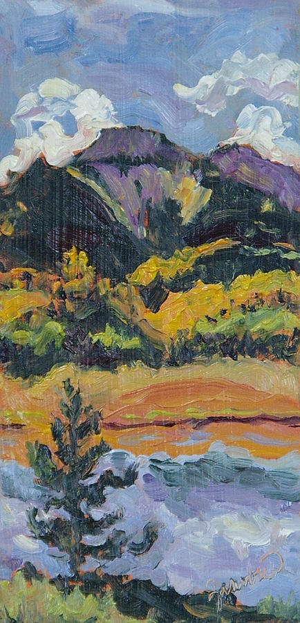 Steamboat Lake State Park Painting - Steamboat Lake State Park Sand Mountain From Bridge Island by Zanobia Shalks