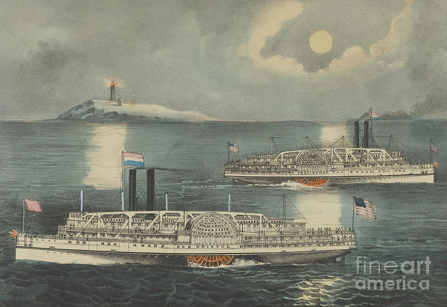 Currier Painting - Steamboats Passing At Midnight On Long Island Sound by Currier and Ives